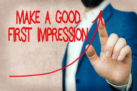 Word writing text Make A Good First Impression. Business photo showcasing Introduce yourself in a great look and mood digital arrowhead curve rising upward denoting growth development concept Imagens
