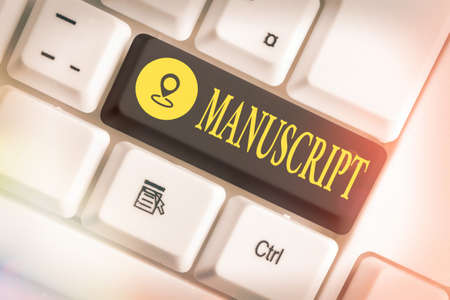Writing note showing Manuscript. Business concept for handwritten text or piece of music rather than typed or printed Colored keyboard key with accessories arranged on empty copy space 스톡 콘텐츠 - 151800970