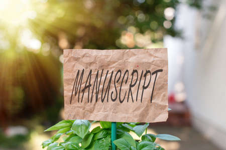 Word writing text Manuscript. Business photo showcasing handwritten text or piece of music rather than typed or printed Plain empty paper attached to a stick and placed in the green leafy plants
