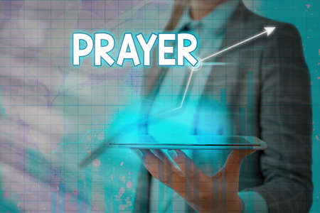 Handwriting text Prayer. Conceptual photo solemn request for help or expression of thanks addressed to God Arrow symbol going upward denoting points showing significant achievement