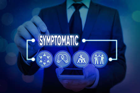Word writing text Symptomatic. Business photo showcasing serving as symptom or sign especially of something undesirable Information digital technology network connection infographic elements icon Stock Photo