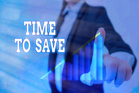 Text sign showing Time To Save. Business photo showcasing to do something more efficiently that less time is required Arrow symbol going upward denoting points showing significant achievement
