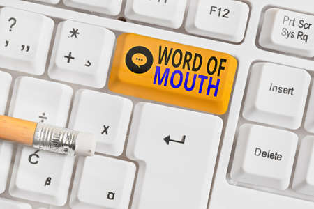 Text sign showing Word Of Mouth. Business photo text information that is transmitted without being written down Different colored keyboard key with accessories arranged on empty copy space