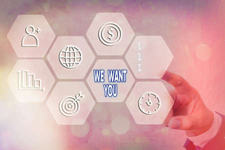 Text sign showing We Want You. Business photo text having a desire or would like an individual to do something Grids and different set up of the icons latest digital technology concept