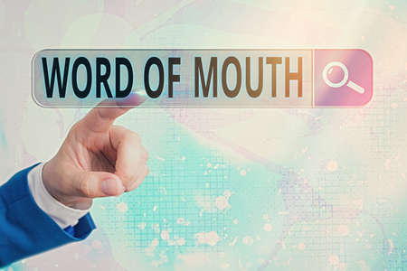 Word writing text Word Of Mouth. Business photo showcasing information that is transmitted without being written down Web search digital information futuristic technology network connection