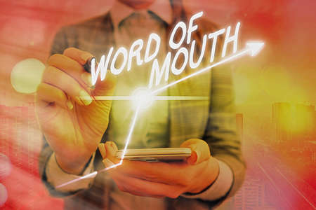 Word writing text Word Of Mouth. Business photo showcasing information that is transmitted without being written down Arrow symbol going upward denoting points showing significant achievement 免版税图像