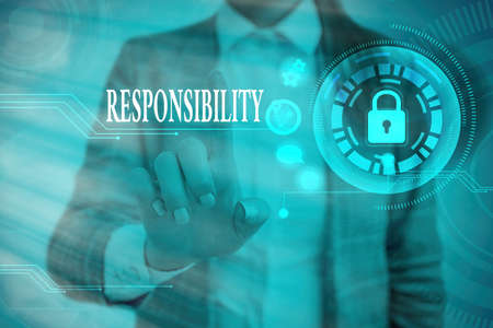 Word writing text Responsibility. Business photo showcasing the condition or reality that has to deal with something Graphics padlock for web data information security application system