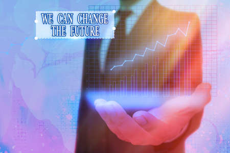 Word writing text We Can Change The Future. Business photo showcasing Make actions to achieve different results Arrow symbol going upward denoting points showing significant achievement