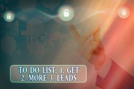 Text sign showing To Do List: 1. Get 2. More 3. Leads. Business photo showcasing advertising plan to attract clients Graphics padlock for web data information security application system