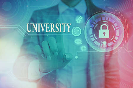 Word writing text University. Business photo showcasing an educational institution designed to teach and investigate Graphics padlock for web data information security application system