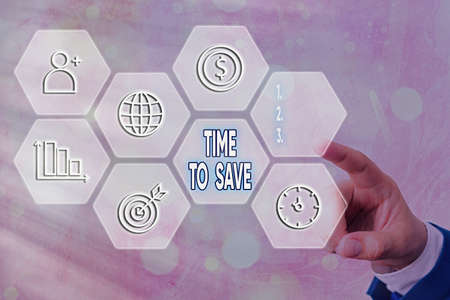 Text sign showing Time To Save. Business photo text to do something more efficiently that less time is required Grids and different set up of the icons latest digital technology concept 写真素材