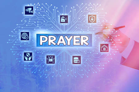 Writing note showing Prayer. Business concept for solemn request for help or expression of thanks addressed to God System administrator control, gear configuration settings tools concept Banco de Imagens