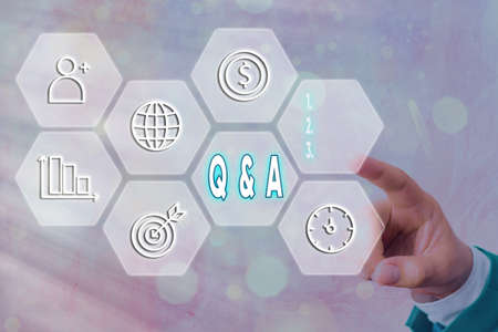 Text sign showing Q And A. Business photo text in which an individual asks questions and another one to answers them Grids and different set up of the icons latest digital technology concept Imagens