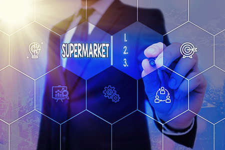 Conceptual hand writing showing Supermarket. Concept meaning selfservice store divided into rooms with a wide range of food Grids and different icons latest digital technology concept