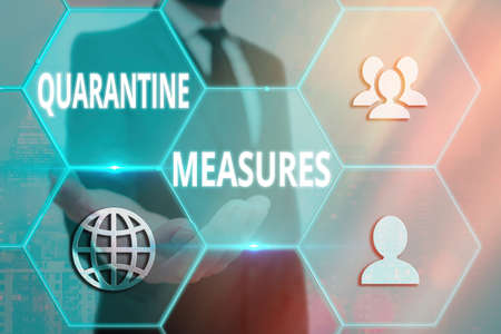 Handwriting text writing Quarantine Measures. Conceptual photo safety procedure to follow preventing the transmission of disease Grids and different set up of the icons latest digital technology concept