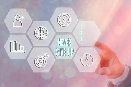 Text sign showing Never Give Up. Business photo text be persistent to keep on trying to improve the condition Grids and different set up of the icons latest digital technology concept