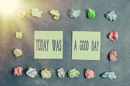 Conceptual hand writing showing Today Was A Good Day. Concept meaning Positive Affirmation Enjoying the moment Having fun Paper accessories with smartphone arranged on different background Banco de Imagens