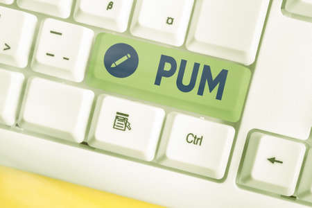 Text sign showing Pum. Business photo showcasing unwanted change that can be performed by legitimate applications Different colored keyboard key with accessories arranged on empty copy space
