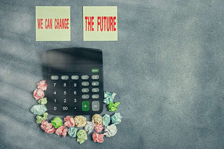 Word writing text We Can Change The Future. Business photo showcasing Make actions to achieve different results Paper accesories with digital smartphone arranged on different background Banco de Imagens