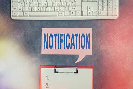 Text sign showing Notification. Business photo text act of formally telling someone about something or a document Paper accesories with digital smartphone arranged on different background