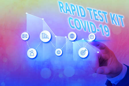 Text sign showing Rapid Test Kit. Business photo text Emergency medical diagnostic equipment that deliver fast results Arrow symbol going upward denoting points showing significant achievement Stock fotó