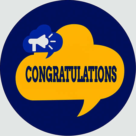 Writing note showing Congratulations. Business concept for a special occasion that expressing gratitude or good wishes Megaphone in Speech Bubble Announcing Text Balloon Inside Circle