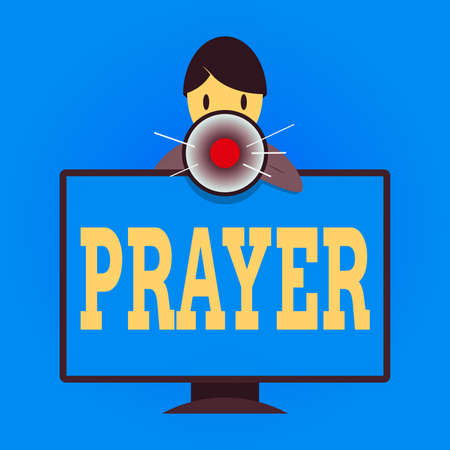 Writing note showing Prayer. Business concept for solemn request for help or expression of thanks addressed to God Man Behind mounted PC Monitor Talking and Holding Megaphone Banco de Imagens
