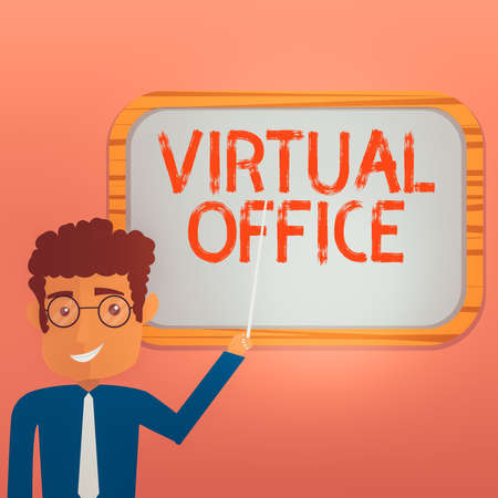 Conceptual hand writing showing Virtual Office. Concept meaning operational domain of any business or organization virtually Man Holding Stick Pointing to Wall Mounted Blank Color Board