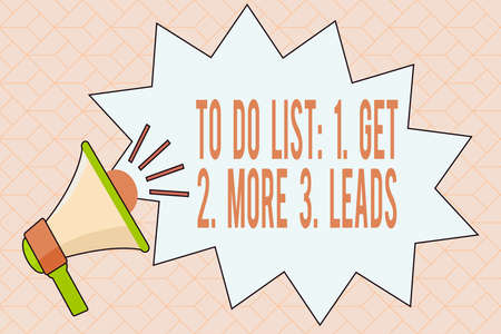 Handwriting text writing To Do List: 1. Get 2. More 3. Leads. Conceptual photo advertising plan to attract clients Megaphone with Volume Sound Effect icon and Blank Jagged Scream Bubble Stock Photo