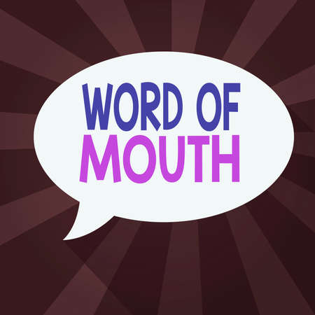 Word writing text Word Of Mouth. Business photo showcasing information that is transmitted without being written down Blank Oval Shape Speech Bubble in solid Color and shadow Burst background
