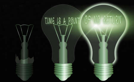 Conceptual hand writing showing Time Is A Point Of No Return. Concept meaning turning back or reversal is not possible Realistic colored vintage light bulbs, idea sign solution