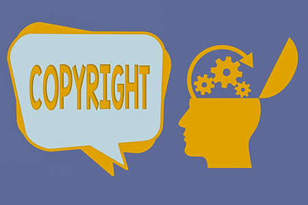 Handwriting text Copyright. Conceptual photo exclusive legal right to print write perform film record literary Hu analysis Head Silhouette Topside Open with Gears and Blank Halftone Bubble