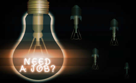 Word writing text Need A Job Question. Business photo showcasing to recruit an individual for specific duty role or function Realistic colored vintage light bulbs, idea sign solution thinking concept 免版税图像