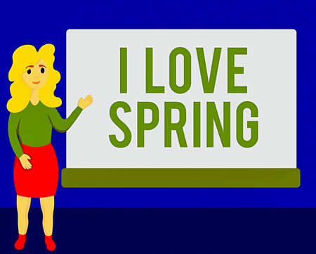 Writing note showing I Love Spring. Business concept for telling why having a strong affection to this season Female Hu analysis Presenting Rectangular Blank Whiteboard
