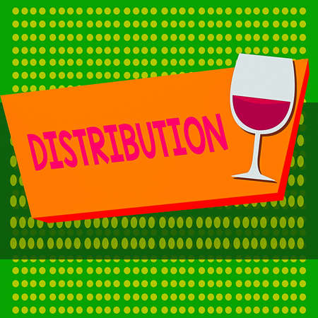 Writing note showing Distribution. Business concept for the behavior of several recipients sending something out Halftone Goblet Glassware filled with Wine Rectangular Form