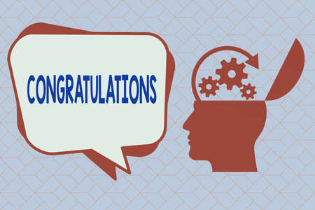 Text sign showing Congratulations. Business photo text a special occasion that expressing gratitude or good wishes Hu analysis Head Silhouette Topside Open with Gears and Blank Halftone Bubble Stock Photo