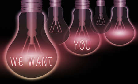 Word writing text We Want You. Business photo showcasing having a desire or would like an individual to do something Realistic colored vintage light bulbs, idea sign solution thinking concept