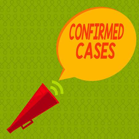 Writing note showing Confirmed Cases. Business concept for set of circumstances or conditions requiring action Piped Megaphone with Sound Effect and Halftone Speech Bubble