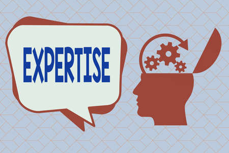 Text sign showing Expertise. Business photo text specific competences of skills gained through training practice Hu analysis Head Silhouette Topside Open with Gears and Blank Halftone Bubble