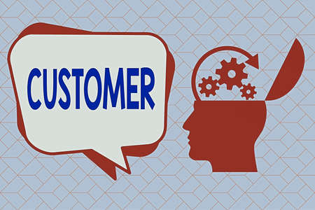 Text sign showing Customer. Business photo text individual or company buying from a store either goods or services Hu analysis Head Silhouette Topside Open with Gears and Blank Halftone Bubble