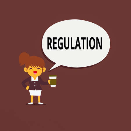 Conceptual hand writing showing Regulation. Concept meaning legislation or decision made and maintained by an authority Female Hu analysis Wearing Uniform coffee Cup Speech Bubble Stock Photo