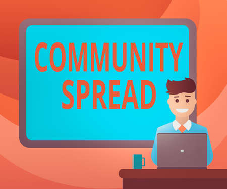 Text sign showing Community Spread. Business photo showcasing dissemination of a highlycontagious disease within the local area Blank Bordered Board behind Man Sitting Smiling with Laptop Mug on Desk