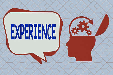Text sign showing Experience. Business photo text single instance witnessing or going through something directly Hu analysis Head Silhouette Topside Open with Gears and Blank Halftone Bubble