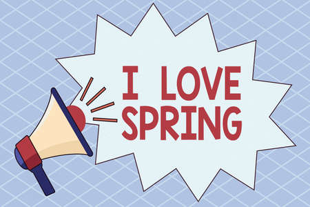 Conceptual hand writing showing I Love Spring. Concept meaning telling why having a strong affection to this season Megaphone with Volume Sound Effect and Jagged Scream Bubble