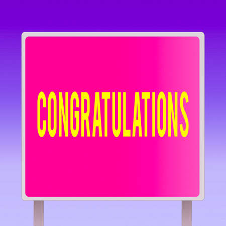 Text sign showing Congratulations. Business photo showcasing a special occasion that expressing gratitude or good wishes Blank Square shape Billboard Standing with Frame Border Outdoor Display Stock Photo