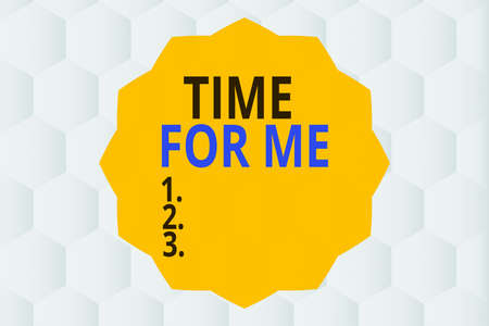 Conceptual hand writing showing Time For Me. Concept meaning the practice of taking action to preserve or improve one s is health Twelve 12 Pointed Star Dodecagon in Zigzag effect Polygon
