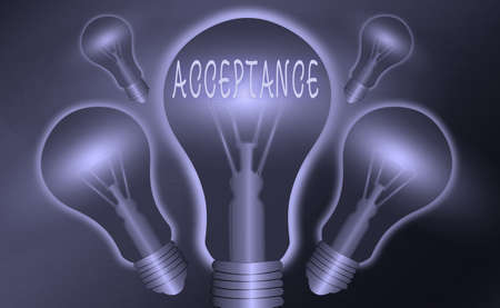 Conceptual hand writing showing Acceptance. Concept meaning when you agree to take something officially or act of taking it Realistic colored vintage light bulbs, idea sign solution