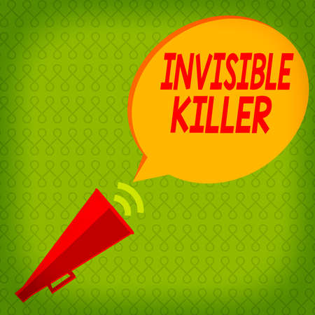 Writing note showing Invisible Killer. Business concept for presence into the air of a substance which are harmful Piped Megaphone with Sound Effect and Halftone Speech Bubble Foto de archivo