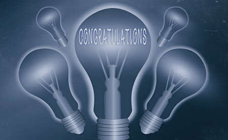 Conceptual hand writing showing Congratulations. Concept meaning a special occasion that expressing gratitude or good wishes Realistic colored vintage light bulbs, idea sign solution Stock Photo