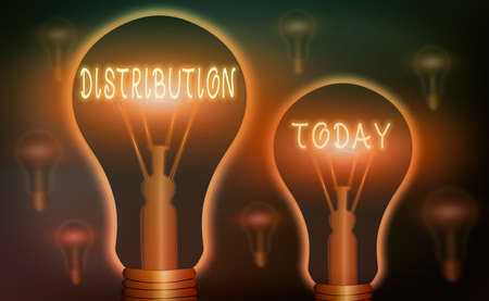 Writing note showing Distribution. Business concept for the behavior of several recipients sending something out Realistic colored vintage light bulbs, idea sign solution